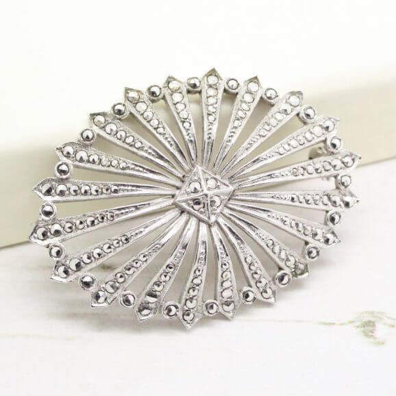 Art Deco Style Sterling Silver Marcasite Brooch Signed Germany