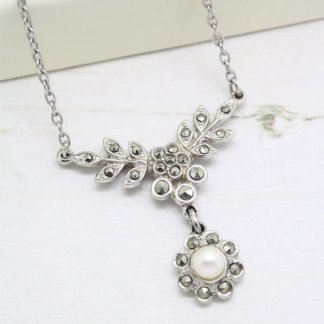 1950s Mid-Century Marcasite and Pearl Floral Necklace