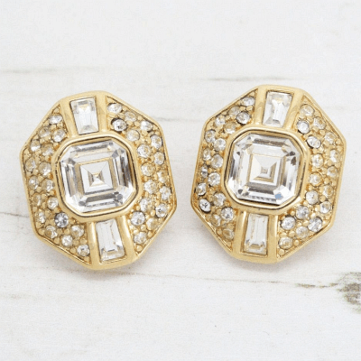 Elegant Gold & Crystal Set Monet Earrings