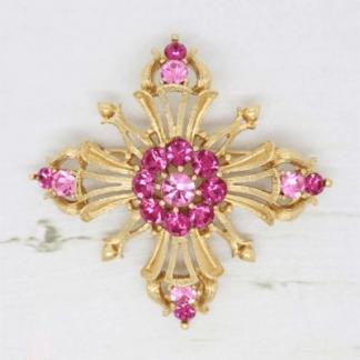 Pink & Deep Fuchsia Rhinestone Crystal Lisner Brooch