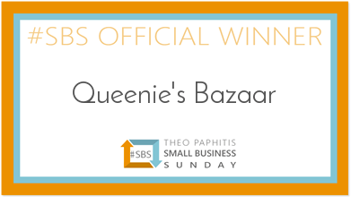 Queenie's Bazaar as chosen by Theo Paphitis - #SBS Small Business Sunday Winner winners badge.