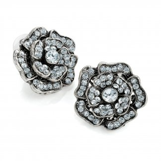 Vintage Inspired Flower Crystal Set Japanned Earrings