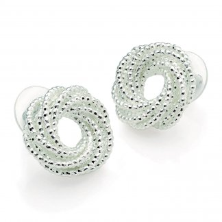 Textured Silver Knot Design Vintage Inspired Earrings