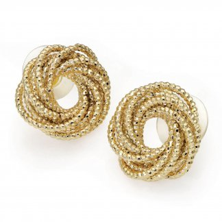 Textured Gold Knot Design Vintage Inspired Earrings