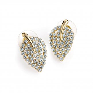 Delicate Shimmering Vintage Inspired Crystal Leaf Earrings