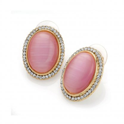Dusty Pink Oval Moonglow and Crystal Vintage Inspired Earrings