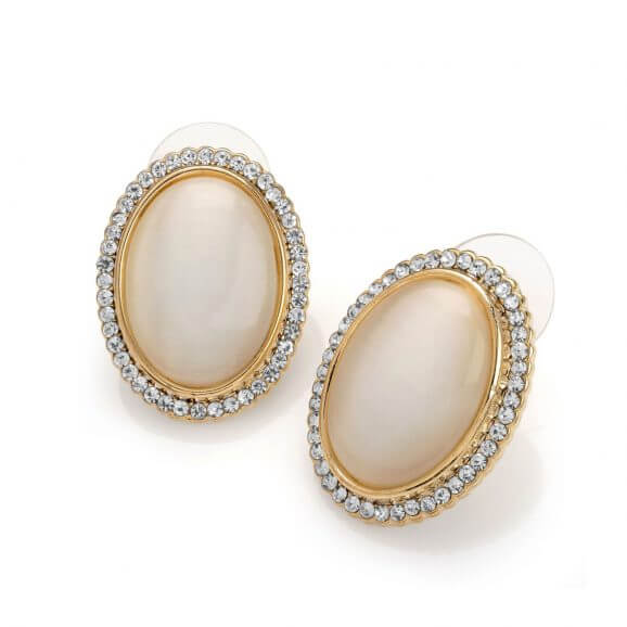 Cream Oval Moonglow and Crystal Vintage Inspired Earrings