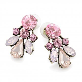 Pink Acrylic and Rhinestone Crystal Vintage Inspired Earrings