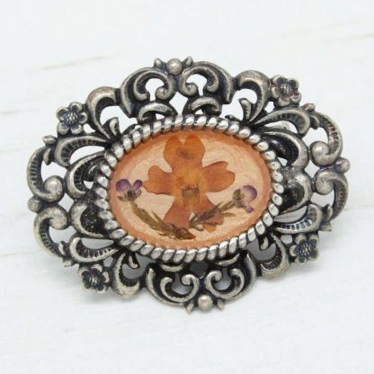 Signed Pierre Bex Oval Framed Dried Flowers Brooch