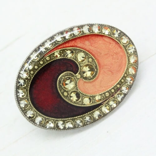 00e3409f654 Pierre Bex Whirlpool Art Deco Enamel Brooch Pin