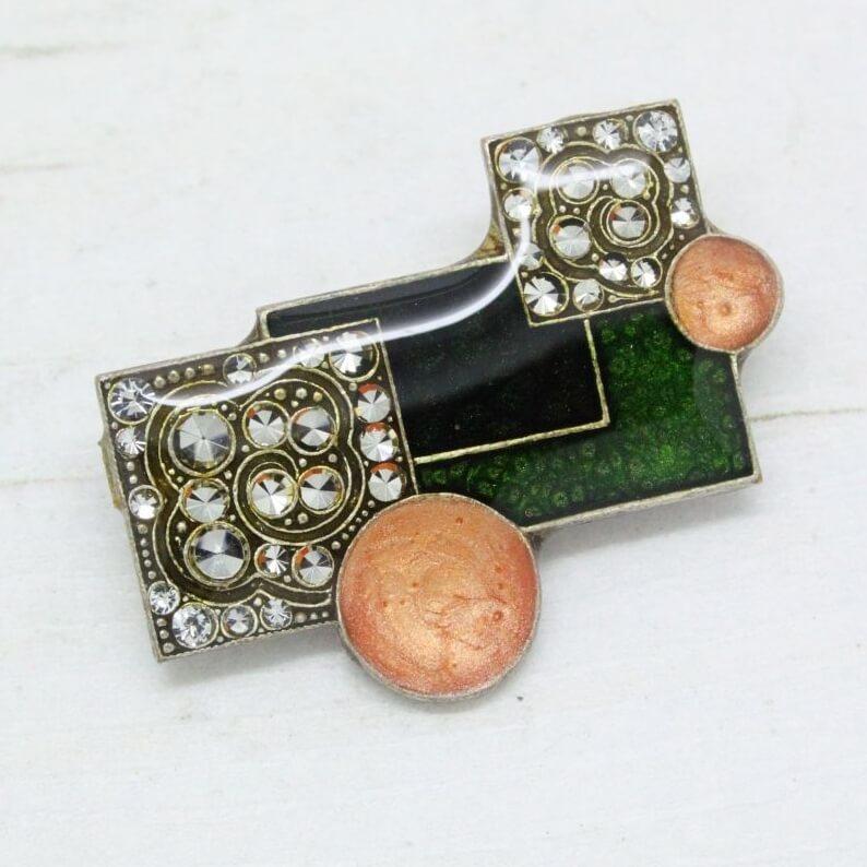 Vintage Art Nouveau Enamel Over Copper Pin Brooch