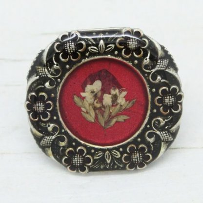 Pierre Bex French Vintage Ornate Floral Frame Dried Flowers Brooch Pin