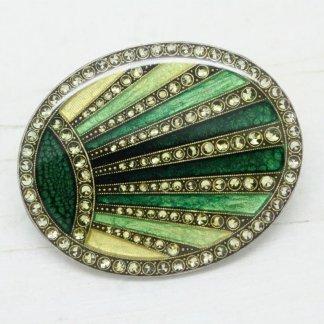 Pierre Bex Geometric Art Deco Enamel Brooch Pin