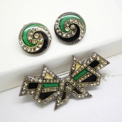 Pierre Bex Geometric Art Deco Large Brooch and Earrings Jewellery Set