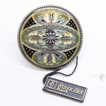 Pierre Bex Ornate Decorative Enamel Circle Brooch Pin