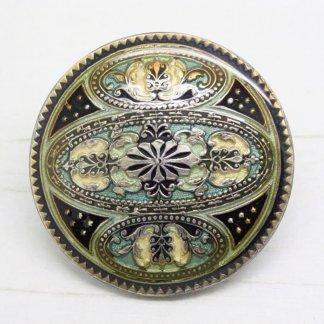 Pierre Bex Ornate Decorative Enamel Circle Brooch Pin