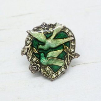 Pierre Bex Vintage Love Birds Sweetheart Brooch Pin (Green)