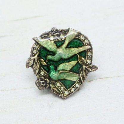 Pierre Bex Vintage Love Birds Sweetheart Brooch Pin (Green)