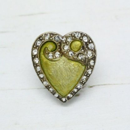Pierre Bex Art Nouveau Yellow Enamel Heart Brooch Pin