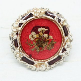 Pierre Bex French Vintage Ornate Dried Flowers Brooch Pin (Red)