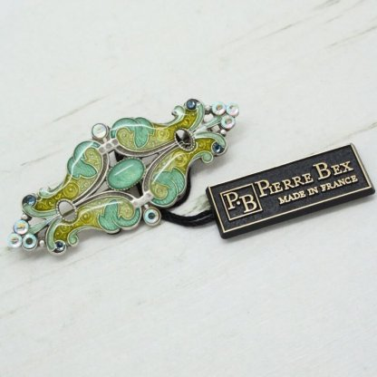 Pierre Bex Ornate Swirl Art Deco Bar Brooch (Pastel)