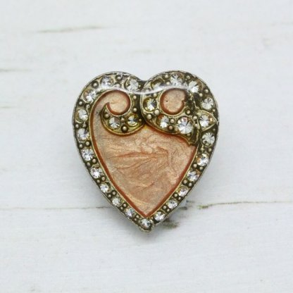 Pierre Bex Art Nouveau Peach Enamel Heart Brooch Pin