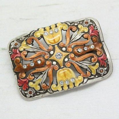 Pierre Bex Vintage Flower Enamel Crystal Brooch Pin