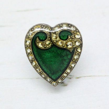 Pierre Bex Art Nouveau Green Enamel Heart Brooch Pin