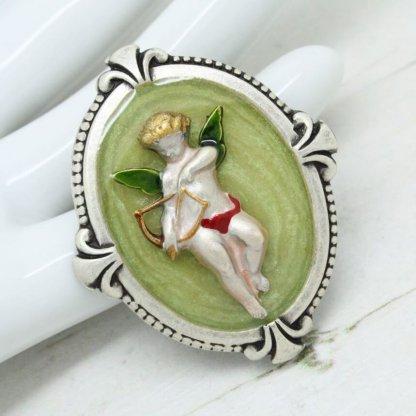 Pierre Bex Art Nouveau Enamel Cherub Romantic Brooch