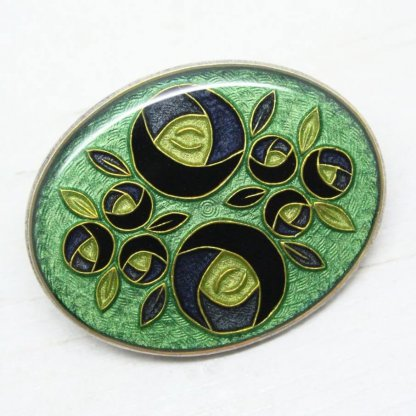 Pierre Bex Art Deco Oval Enamel Brooch Pin