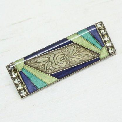 Pierre Bex Art Deco Enamel Sunray Rose Brooch Pin