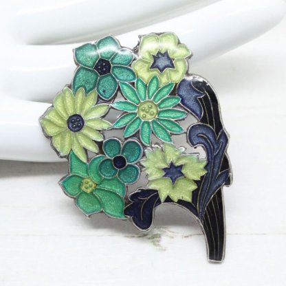 Pierre Bex Art Deco Enamel Flowers Brooch Pin