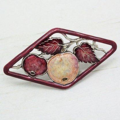 Pierre Bex Art Deco Enamel Apples Brooch Pin