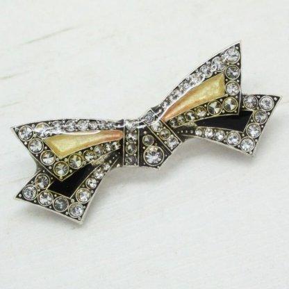 Pierre Bex Art Deco Crystal & Enamel Bow Brooch Pin