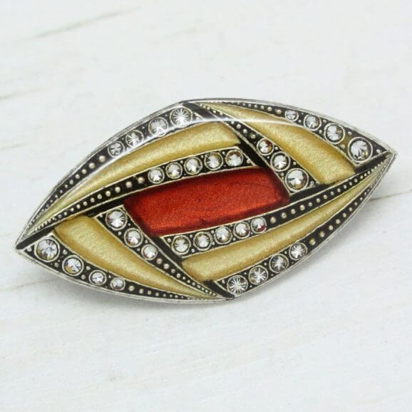 Pierre Bex Abstract Lines Art Deco Brooch Pin