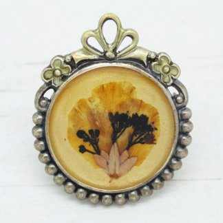 Petite French Pierre Bex Ornate Frame Dried Flowers Brooch Pin