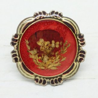 Large Round Signed Pierre Bex Ornate Frame Brooch (Red Enamel)