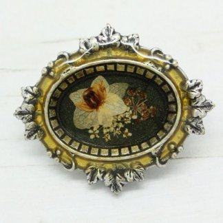 French Pierre Bex Ornate Leaf Frame Dried Flowers Brooch Pin (Green)