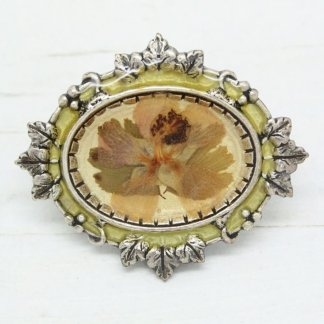 French Pierre Bex Ornate Leaf Frame Dried Flowers Brooch Pin