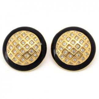 Black Enamel & Crystal Set Round Monet Earrings
