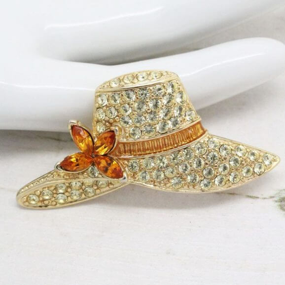Signed Monet Pave' Rhinestones Hat Brooch Pin