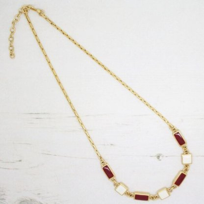 Designer Signed Monet Red and Cream Enamel Link Necklace