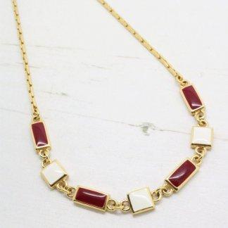 Designer Signed Monet Red and Cream Enamel Link Necklace