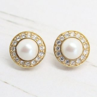 Signed Monet Vintage Pearl & Crystal Clip On Earrings