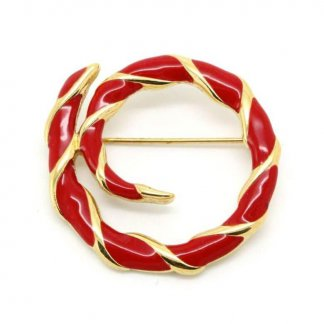 1970s Lipstick Red Enamel Signed Monet Brooch Pin