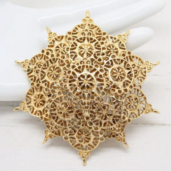 Magnificent Ornate Filigree Golden Monet Statement Brooch Pin