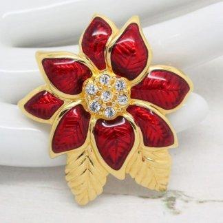 1980s Monet Red Gloss Enamel Flower Brooch