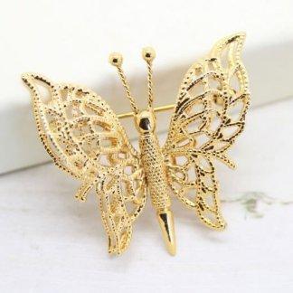 Filigree Butterfly Ornate Gold Double Wings Monet Brooch Pin