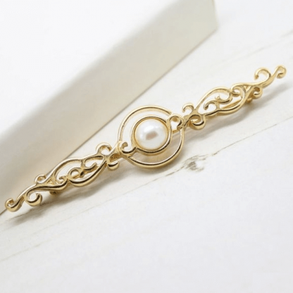 1980s Vintage Monet Faux Pearl Curlicue Gold Plated Bar Brooch