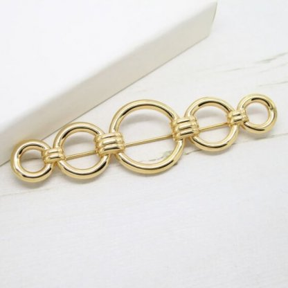 Monet Large Golden Circle Vintage Bar Brooch Pin